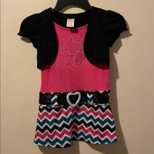 Girls Medium 7/8 Dress built in belt & cardigan